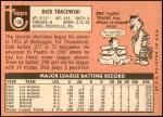 1969 Topps #126  Dick Tracewski  Back Thumbnail