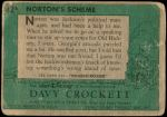 1956 Topps Davy Crockett Green Back #42   Norton's Scheme  Back Thumbnail