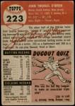 1953 Topps #223  John O'Brien  Back Thumbnail