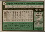 1979 Topps #76  Warren Cromartie  Back Thumbnail