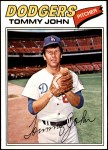 1977 Topps #128  Tommy John  Front Thumbnail