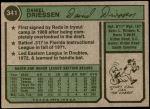 1974 Topps #341  Dan Driessen  Back Thumbnail