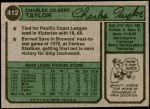 1974 Topps #412  Chuck Taylor  Back Thumbnail