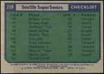 1975 Topps #219   Seattle SuperSonics Back Thumbnail