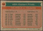 1973 Topps #207   ABA Eastern Finals Back Thumbnail