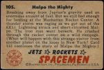 1951 Bowman Jets Rockets and Spacemen #105   Malpo the Mighty Back Thumbnail