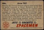 1951 Bowman Jets Rockets and Spacemen #106   Avro 707 Back Thumbnail