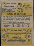1974 Topps #128   -  Paul Warfield All-Pro Back Thumbnail