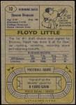 1974 Topps #10  Floyd Little  Back Thumbnail