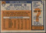 1976 Topps #386  Joe Dawkins  Back Thumbnail