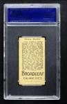 1912 T207 Broad Leaf BL Grover Hartley    Back Thumbnail