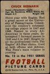 1951 Bowman #12  Chuck Bednarik  Back Thumbnail