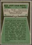 1975 Topps #298  Jeff Van Note  Back Thumbnail