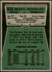 1975 Topps #305  Marv Hubbard  Back Thumbnail