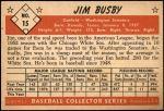 1953 Bowman #15  Jim Busby  Back Thumbnail