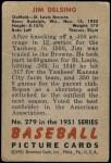 1951 Bowman #279  Jim Delsing  Back Thumbnail