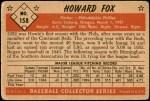 1953 Bowman #158  Howard Fox  Back Thumbnail