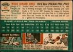 1954 Topps #41 WHT Willie Jones  Back Thumbnail