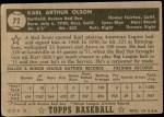 1952 Topps #72  Karl Olson  Back Thumbnail