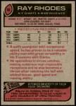 1977 Topps #98  Ray Rhodes  Back Thumbnail