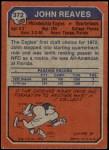 1973 Topps #372  John Reaves  Back Thumbnail