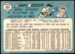1965 Topps #184  John Boozer  Back Thumbnail
