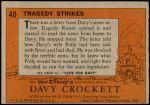 1956 Topps Davy Crockett Orange Back #40   Tragedy Strikes  Back Thumbnail