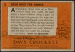 1956 Topps Davy Crockett Orange Back #5   Bear Meat For Dinner  Back Thumbnail