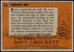 1956 Topps Davy Crockett Orange Back #75   Travis Hit  Back Thumbnail