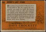 1956 Topps Davy Crockett Orange Back #80   Bowie's Last Stand  Back Thumbnail