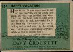 1956 Topps Davy Crockett Green Back #24   Happy Vacation  Back Thumbnail