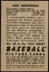 1952 Bowman #28  Roy Hartsfield  Back Thumbnail