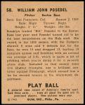 1940 Play Ball #58  Bill Posedel  Back Thumbnail