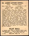 1940 Play Ball #48  Luke Sewell  Back Thumbnail