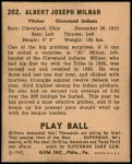 1940 Play Ball #202  Al Milnar  Back Thumbnail
