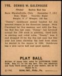 1940 Play Ball #198  Dennis Galehouse  Back Thumbnail