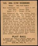 1940 Play Ball #123  George Hildebrand  Back Thumbnail