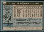 1980 Topps #249  Jim Clancy  Back Thumbnail