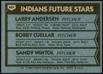 1980 Topps #665   -  Larry Andersen / Bobby Cuellar / Sandy Wihtol Indians Rookies Back Thumbnail