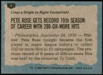1980 Topps #4   -  Pete Rose   Highlights Back Thumbnail