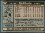 1980 Topps #525  Clint Hurdle  Back Thumbnail