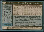 1980 Topps #315  Steve Kemp  Back Thumbnail