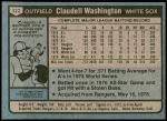 1980 Topps #322  Claudell Washington  Back Thumbnail
