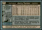 1980 Topps #133  Jerry Turner  Back Thumbnail