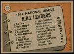 1972 Topps #87   -  Hank Aaron / Willie Stargell / Joe Torre NL RBI Leaders  Back Thumbnail