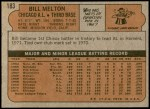1972 Topps #183  Bill Melton  Back Thumbnail