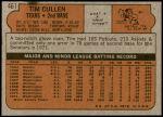 1972 Topps #461  Tim Cullen  Back Thumbnail