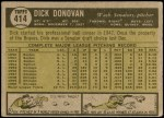 1961 Topps #414  Dick Donovan  Back Thumbnail