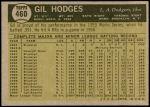 1961 Topps #460  Gil Hodges  Back Thumbnail