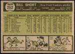 1961 Topps #252  Bill Short  Back Thumbnail